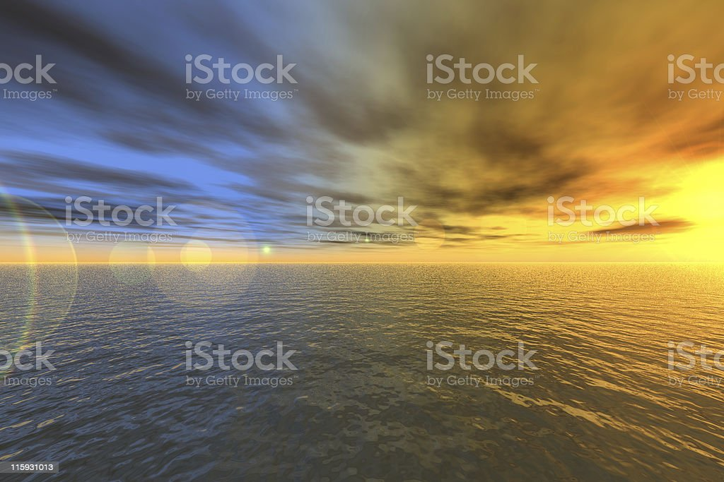 Oceanic sunset 3D - generated royalty-free stock photo