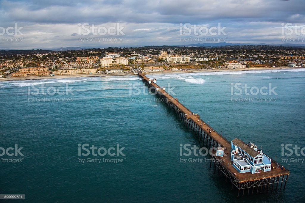 Oceanside California Pier and Coastline From Above stock photo