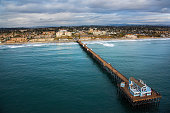 Oceanside California Pier and Coastline From Above