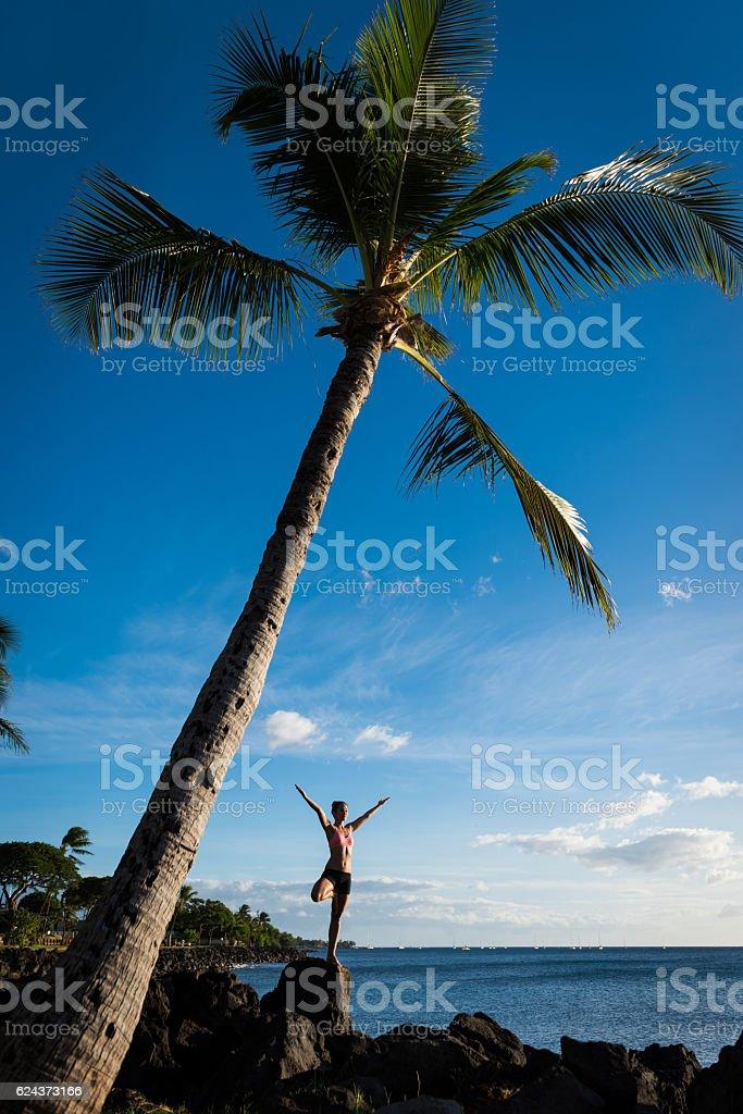 Oceanside yoga stock photo