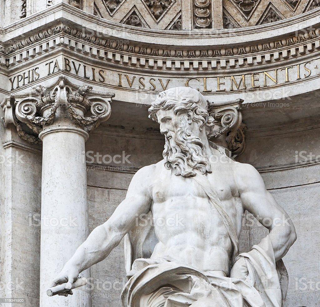 Oceanus, detail of Trevi Fountain royalty-free stock photo