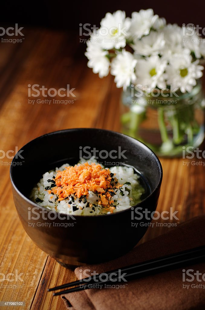 Ochazuke On Wood Table stock photo