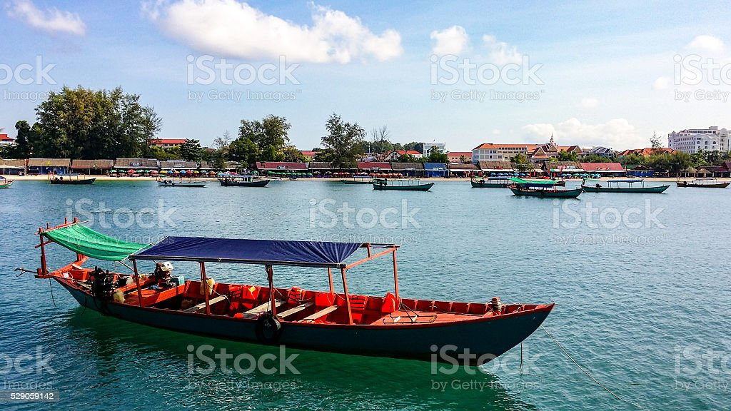 Ochheuteal Beach, Sihanoukville from an offshore boat stock photo