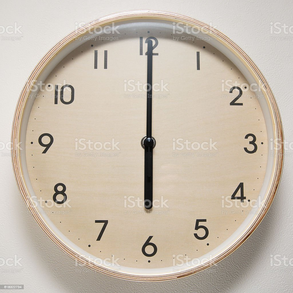 6, 6 o`clock, time, clock, watch, white background, stock photo