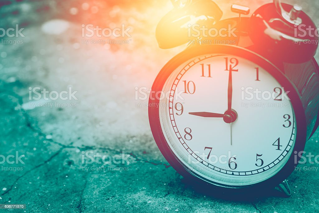 7 o'clock with sun light mint color tone for postcard. stock photo