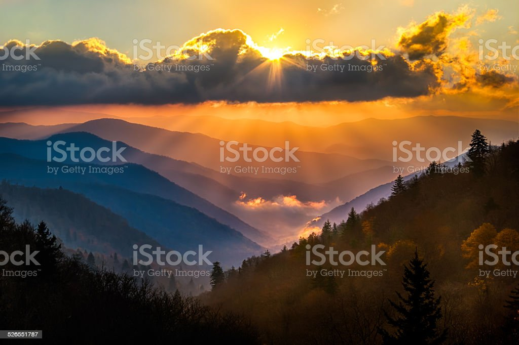 Oconaluftee Overlook Sunrise stock photo