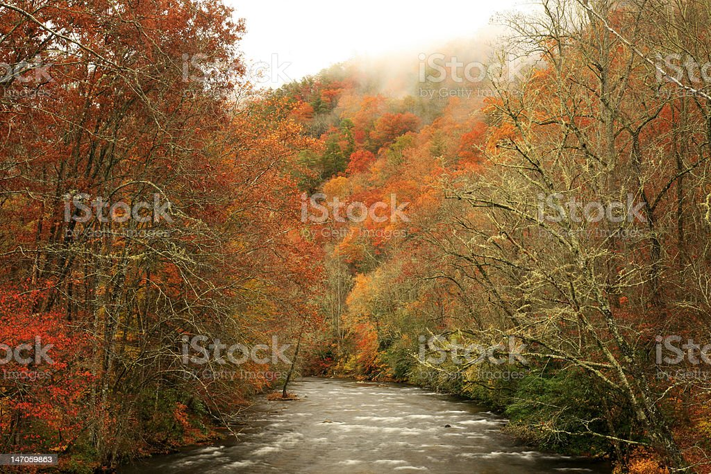 oconaluftee river in autumn royalty-free stock photo