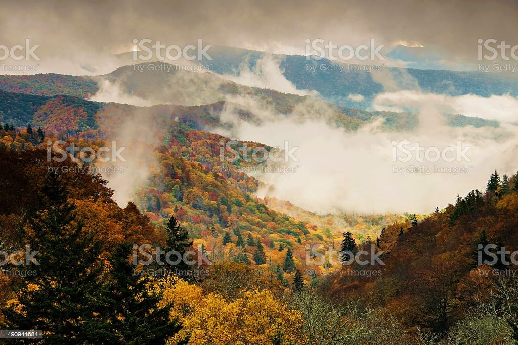 Oconaluftee Valley Overlook in Great Smoky Mountains National Park  in mist stock photo