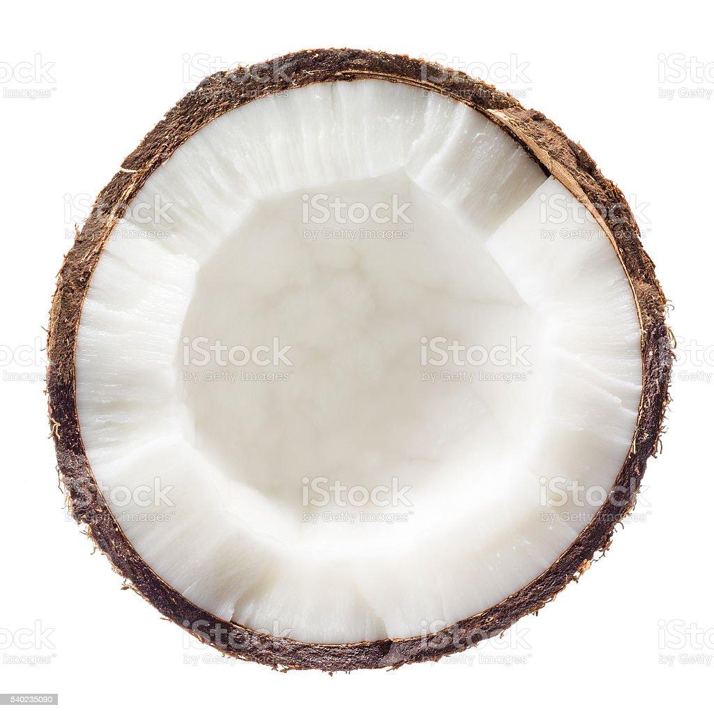 Сoconut. Half isolated on white background. Top view. stock photo