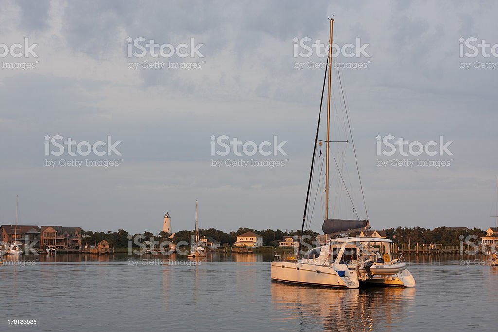 Ocracoke Harbor Dawn stock photo