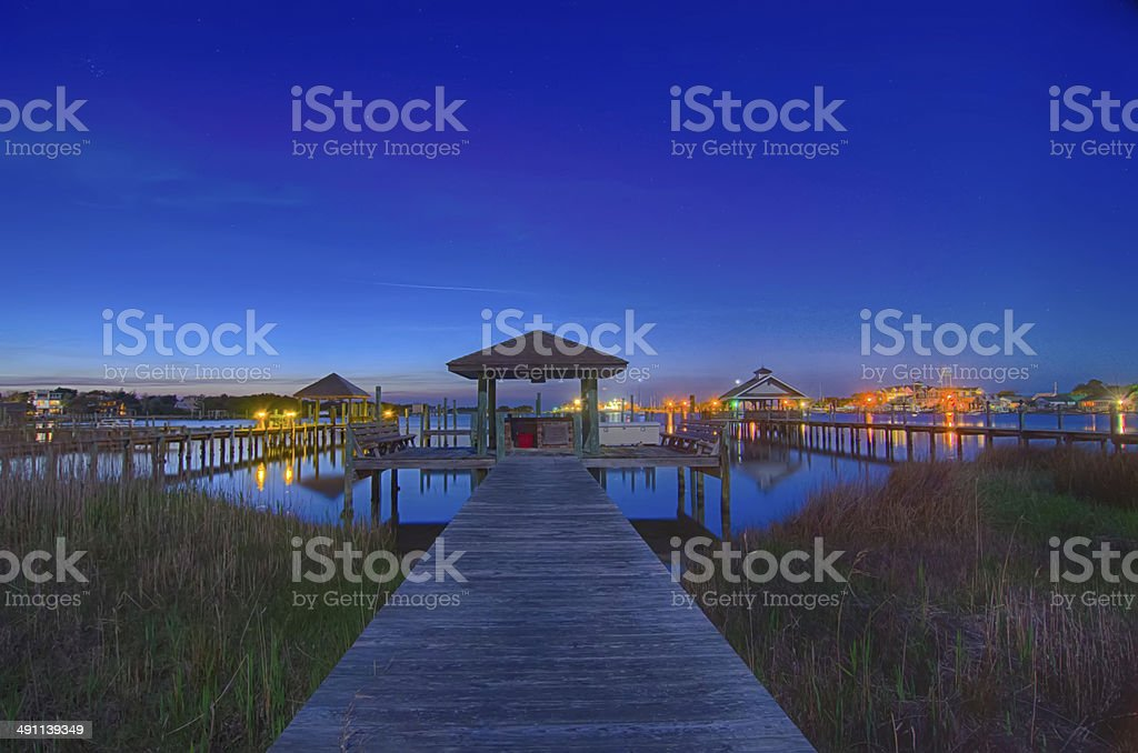ocracoke island at night scenery stock photo