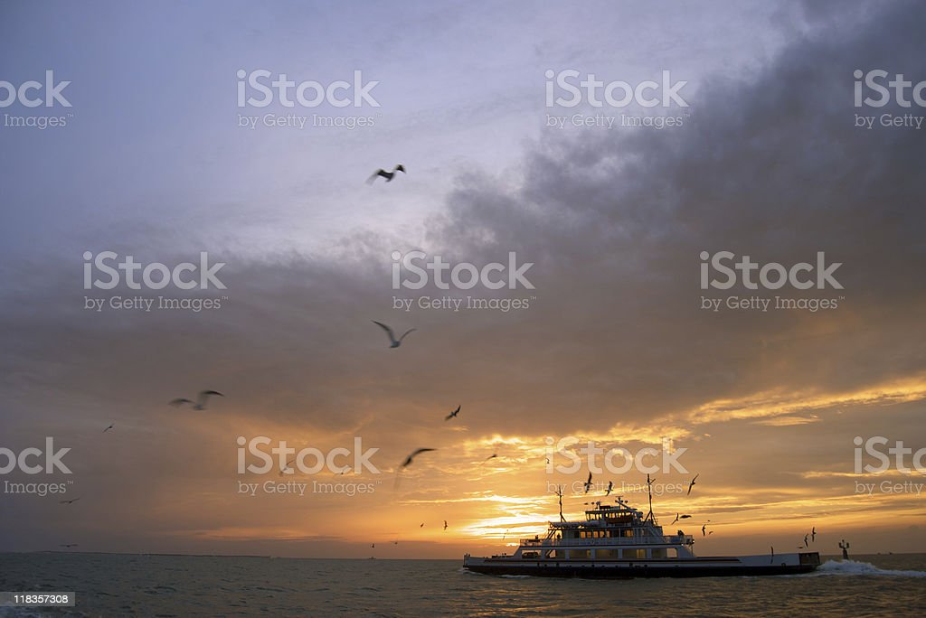 Ocracoke Island Ferry at Sunset, Outer Banks NC stock photo