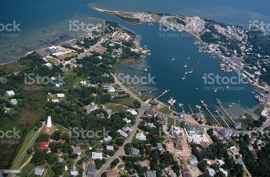 Ocracoke Island from the Air stock photo