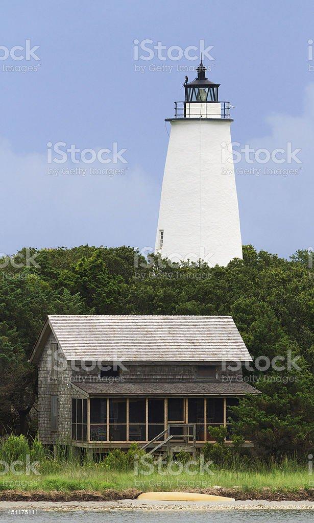 Ocracoke LIght and Beach House royalty-free stock photo