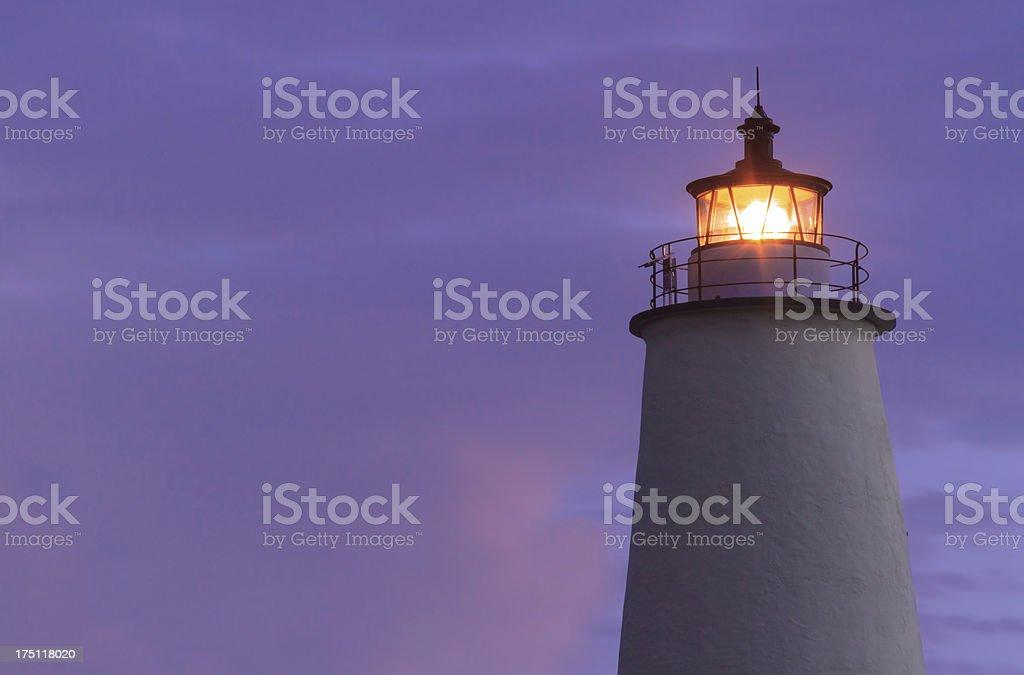 Ocracoke Light Shining at Dawn royalty-free stock photo