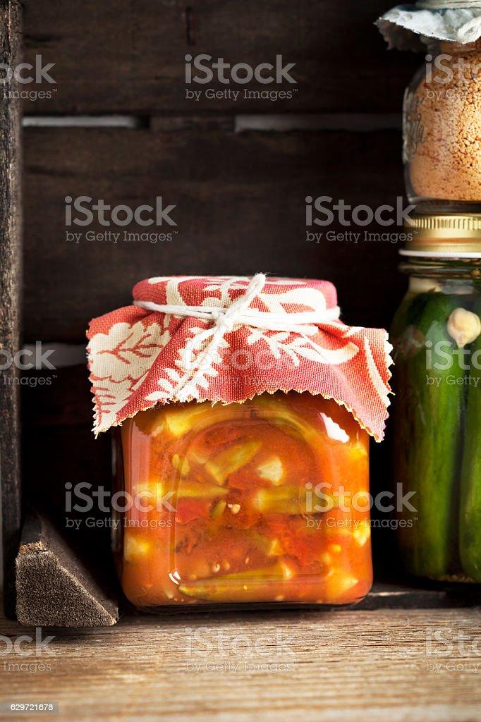 ocra,Okra jar stock photo