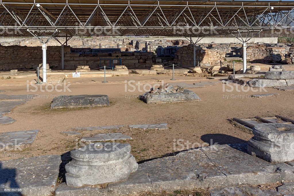 Octagon church in the archeological area of ancient Philippi, Greece stock photo