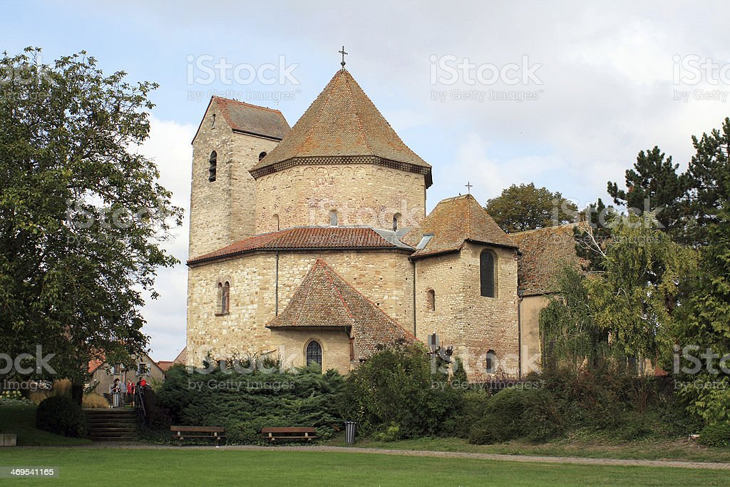 Octagonal church in Alsace stock photo