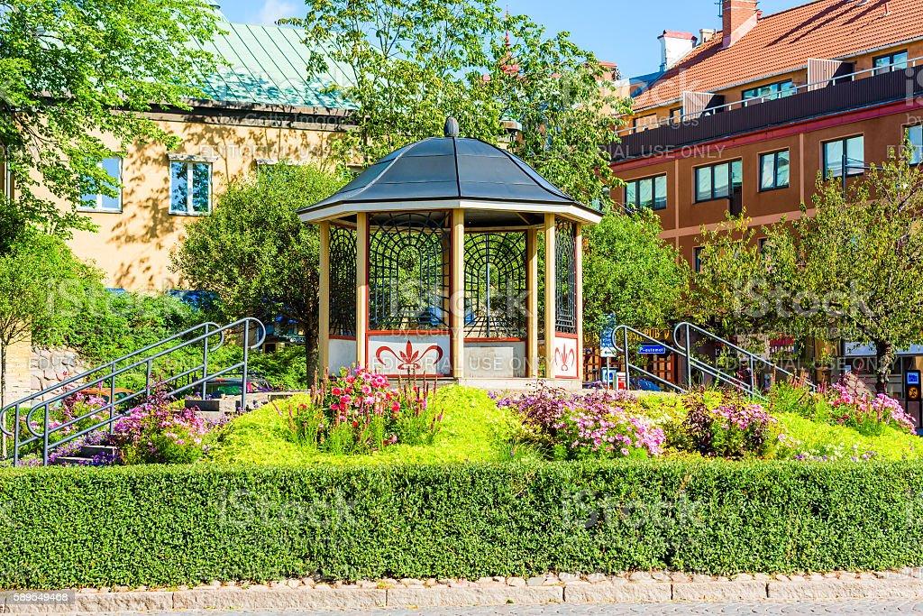 Octagonal gazebo in park stock photo