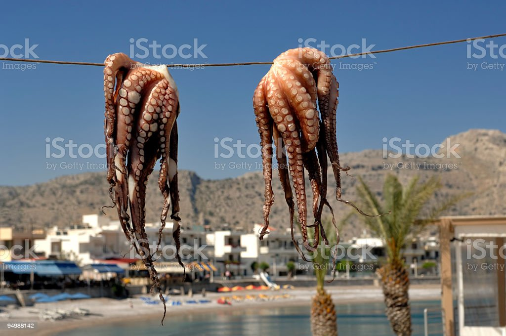 Octapus - Greek fish food royalty-free stock photo