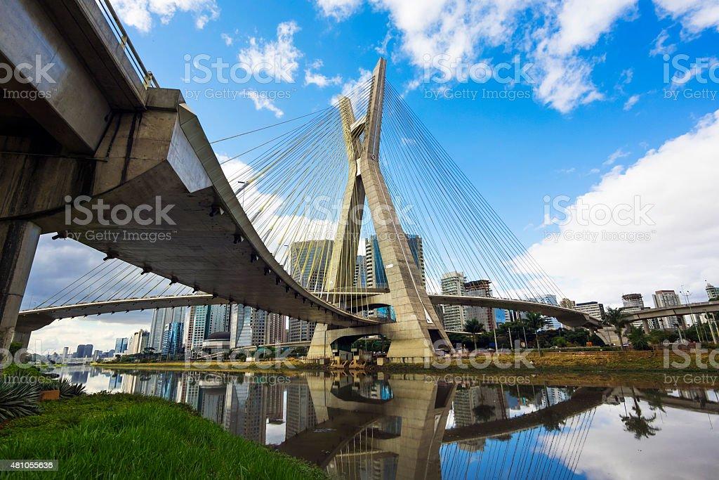 Octavio Frias de Oliveira Bridge in Sao Paulo, Brazil stock photo