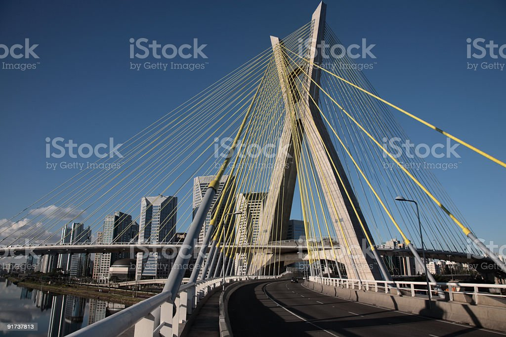 Octavio Frias de Oliveira Bridge in Sao Paulo, Brazil royalty-free stock photo