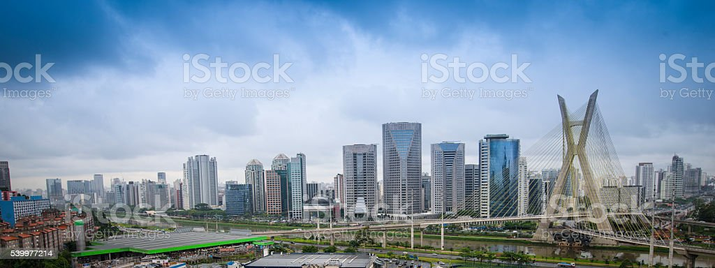 Octavio Frias de Oliveira Bridge in Sao Paulo stock photo