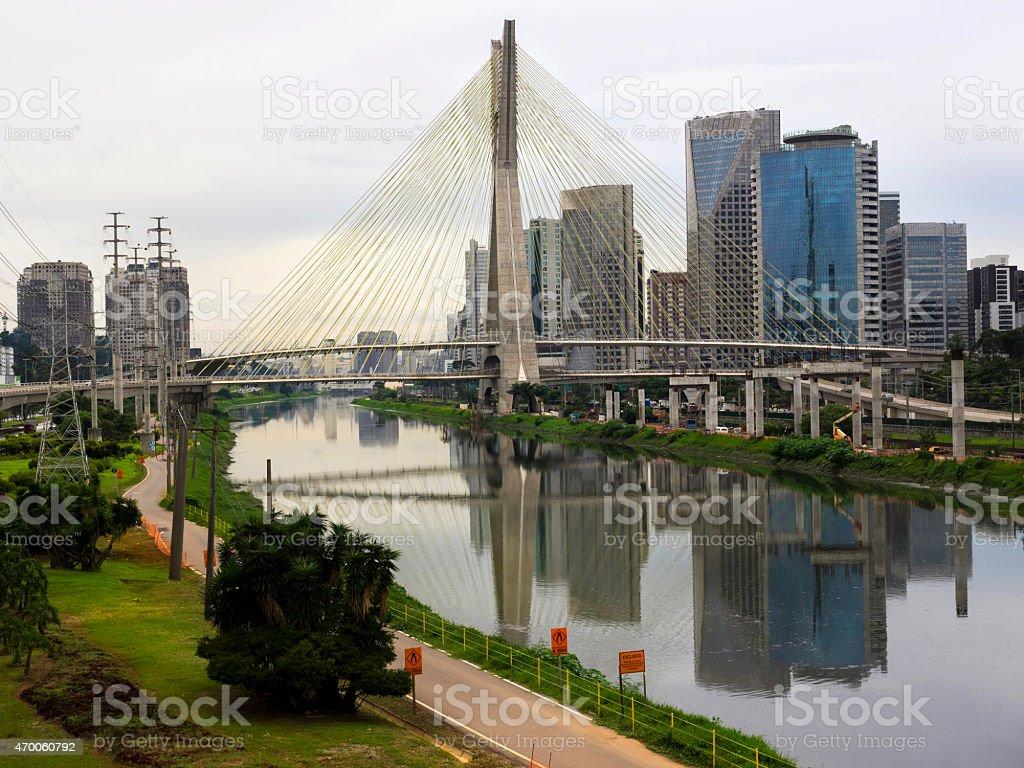 Octavio Frias de Oliveira Bridge (Ponte Estaiada), Sao Paulo, Brazil stock photo