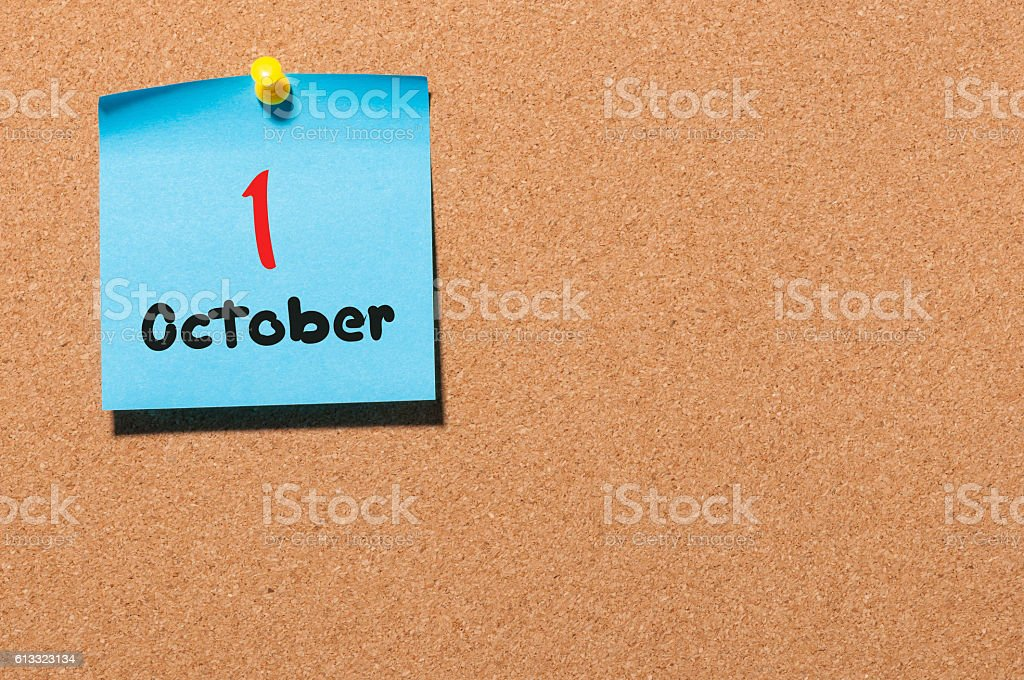 October 1st. Day 1 of month, Calendar on notice board stock photo