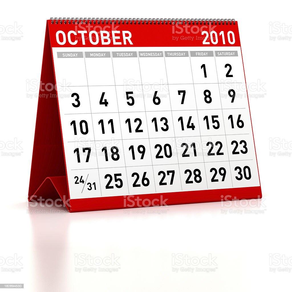 October 2010 - Calendar royalty-free stock photo
