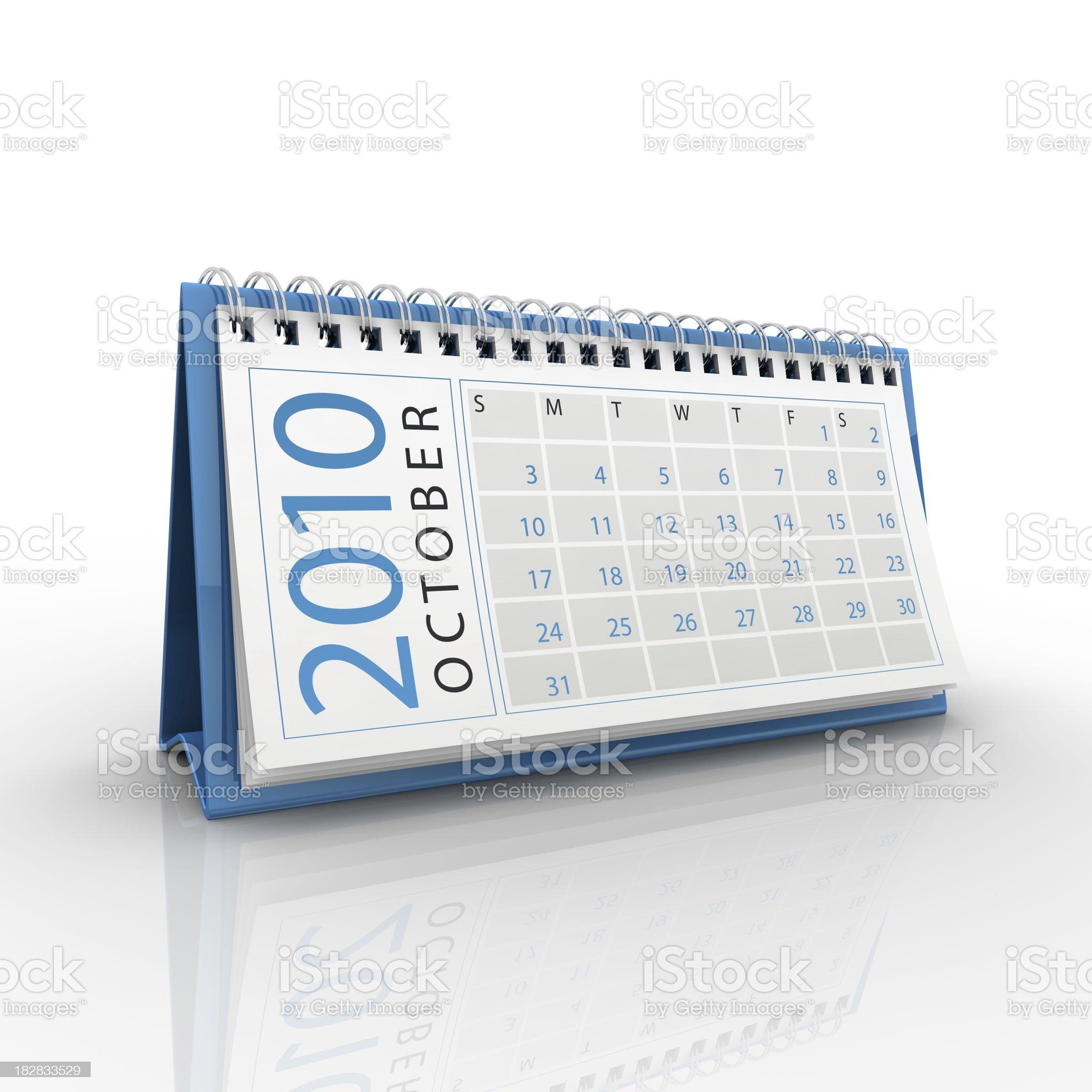 October 2010 calendar royalty-free stock photo