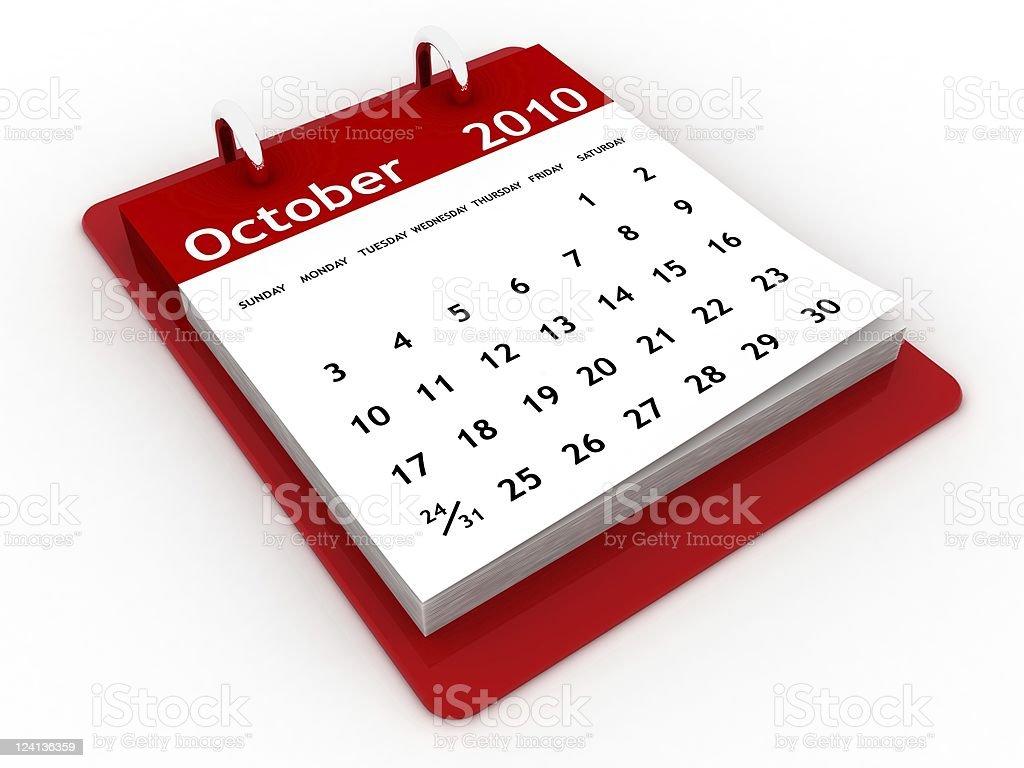 October 2010 - Calendar series royalty-free stock photo
