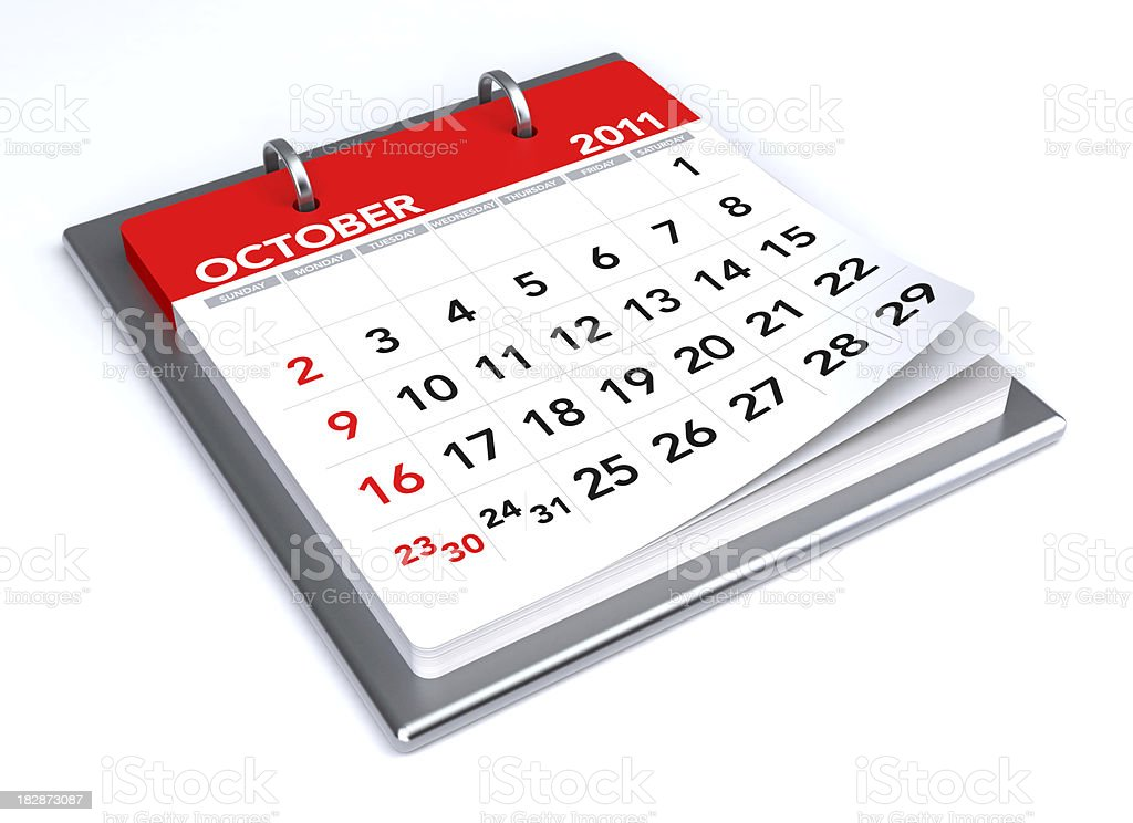 October 2011 - Calendar royalty-free stock photo