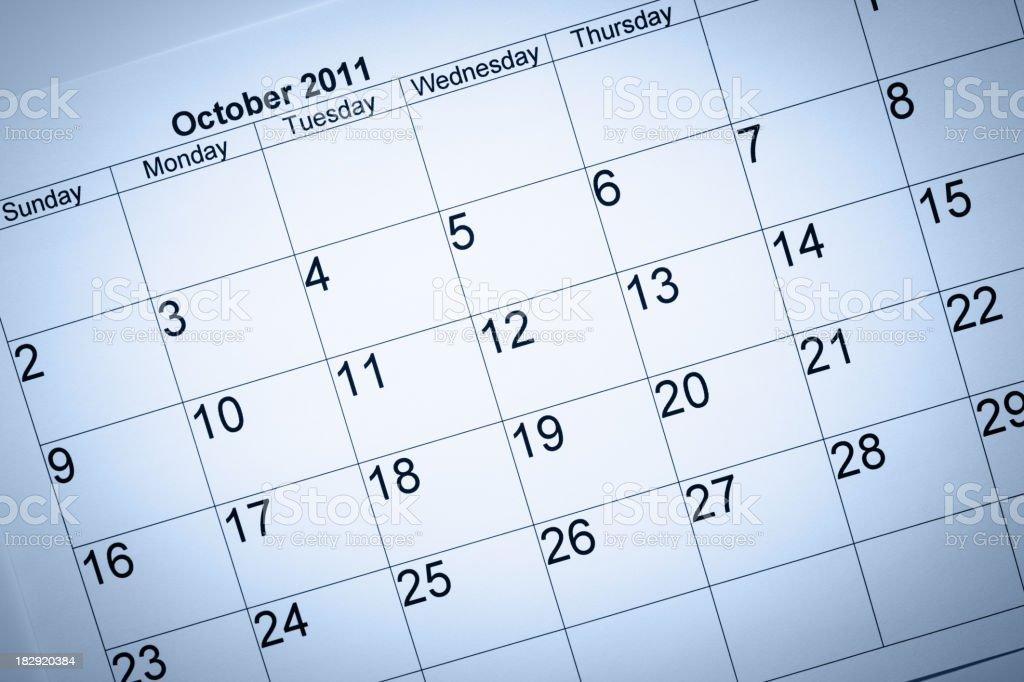 October 2011 Calendar royalty-free stock photo
