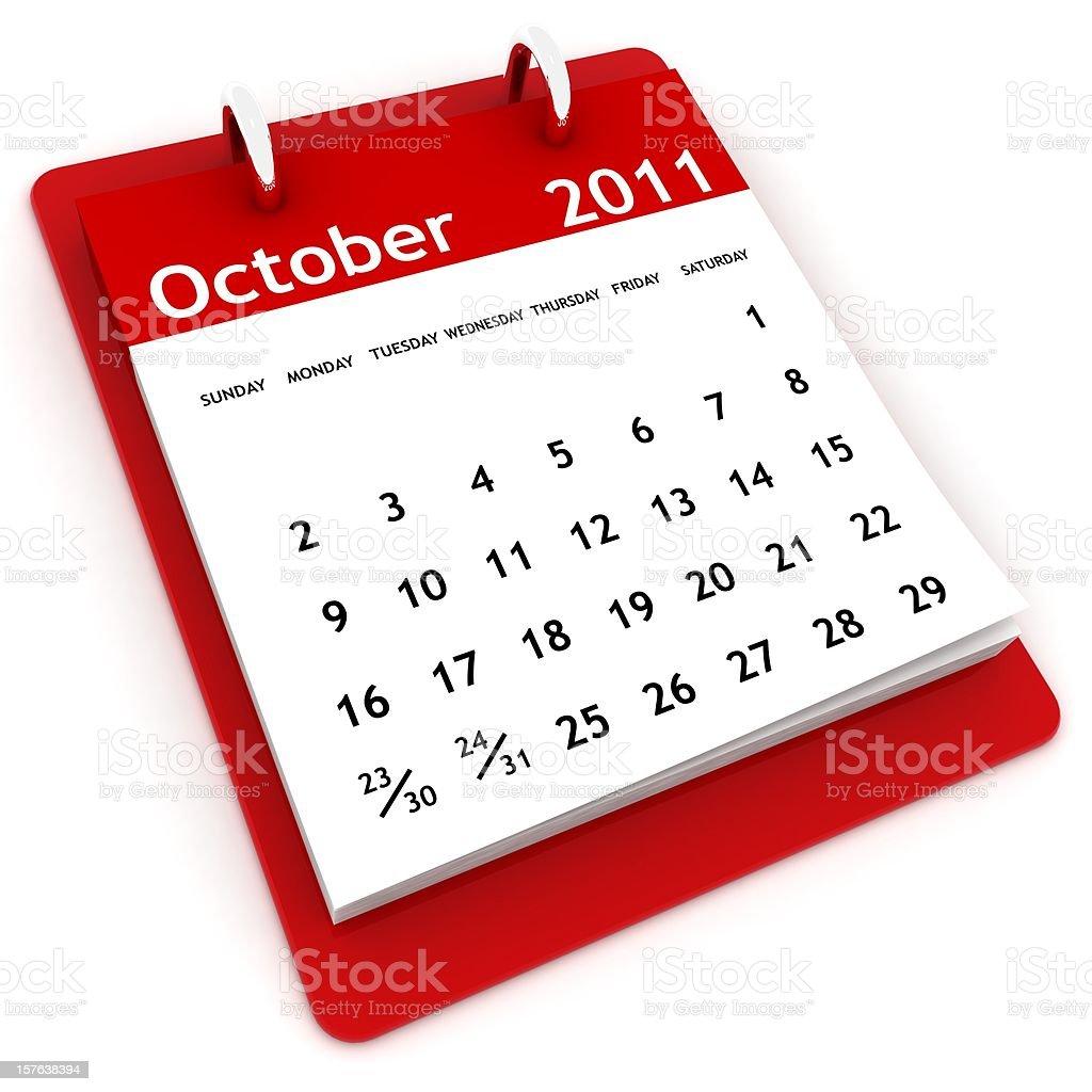 October 2011 - Calendar series royalty-free stock photo