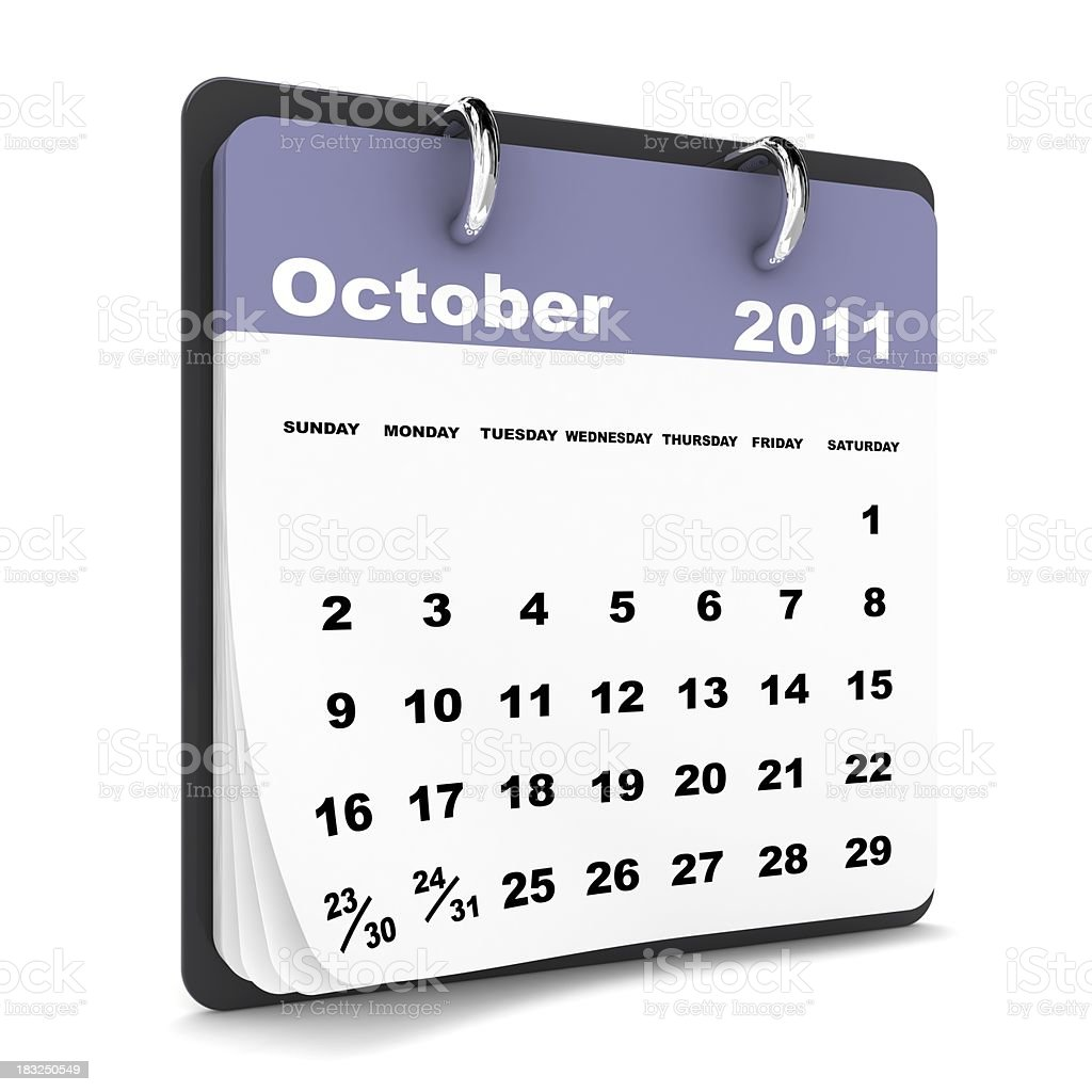 October 2011 - Calendar series royalty-free stock photo