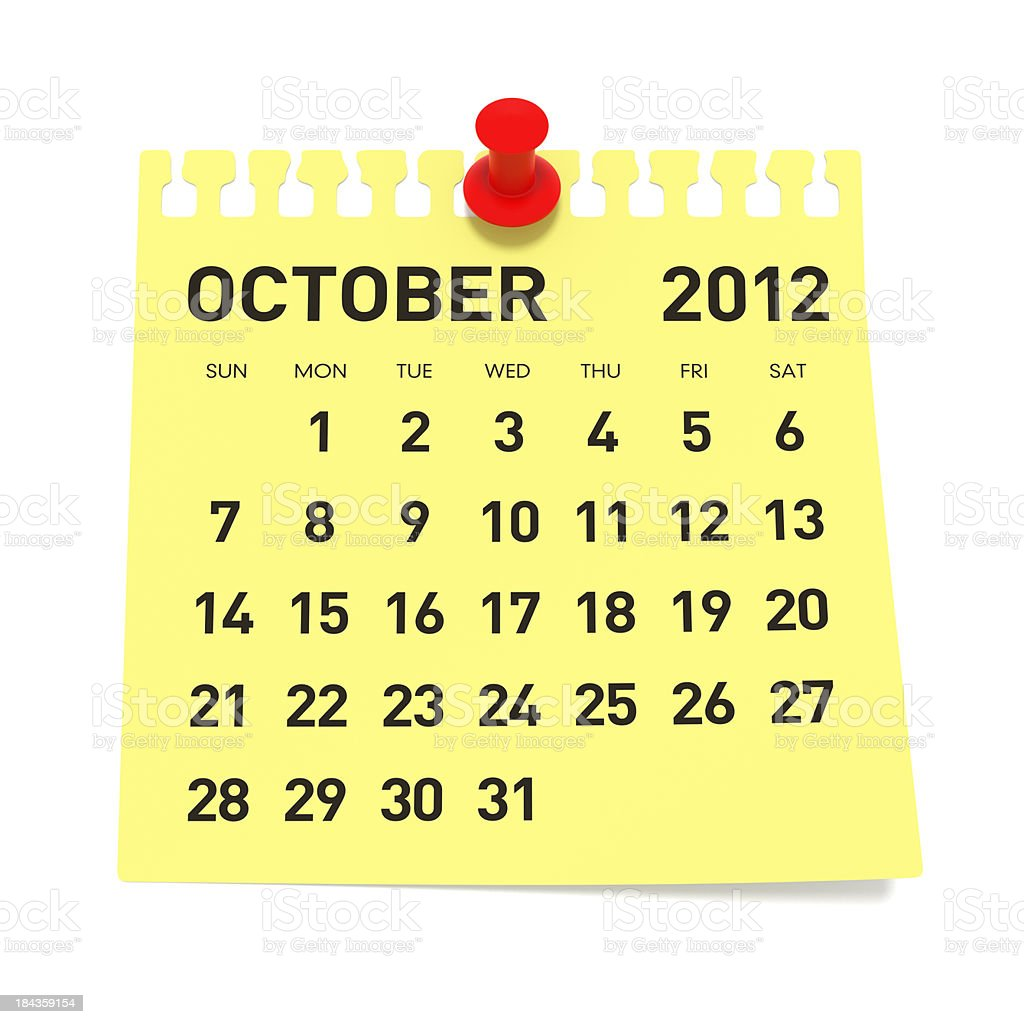 October 2012 - Calendar royalty-free stock photo