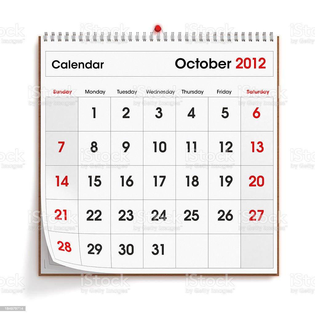 October 2012 Wall Calendar royalty-free stock photo
