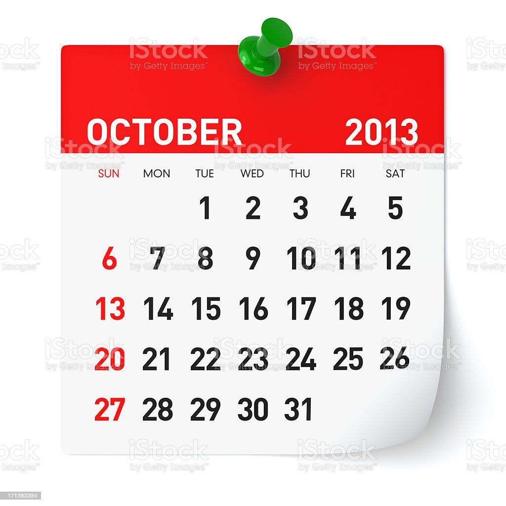 October 2013 - Calendar stock photo