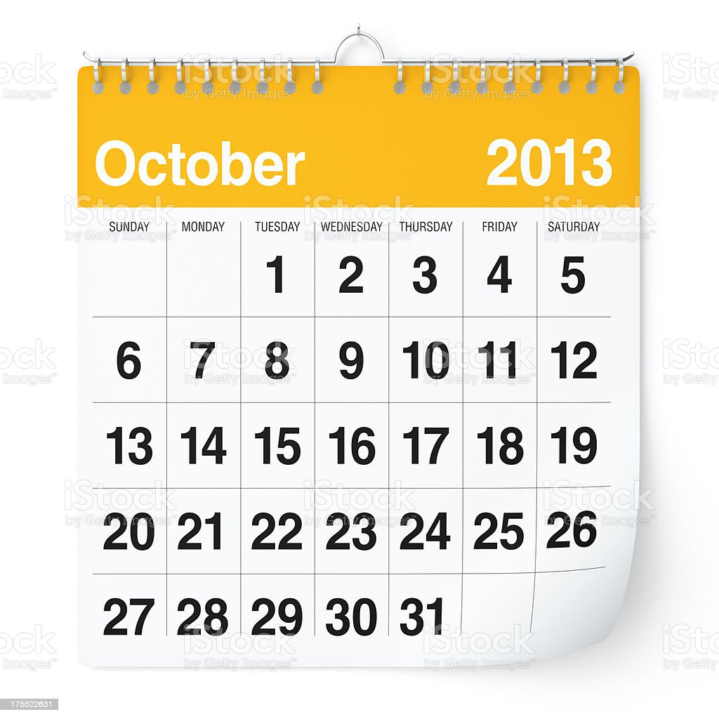 October 2013 - Calendar royalty-free stock photo