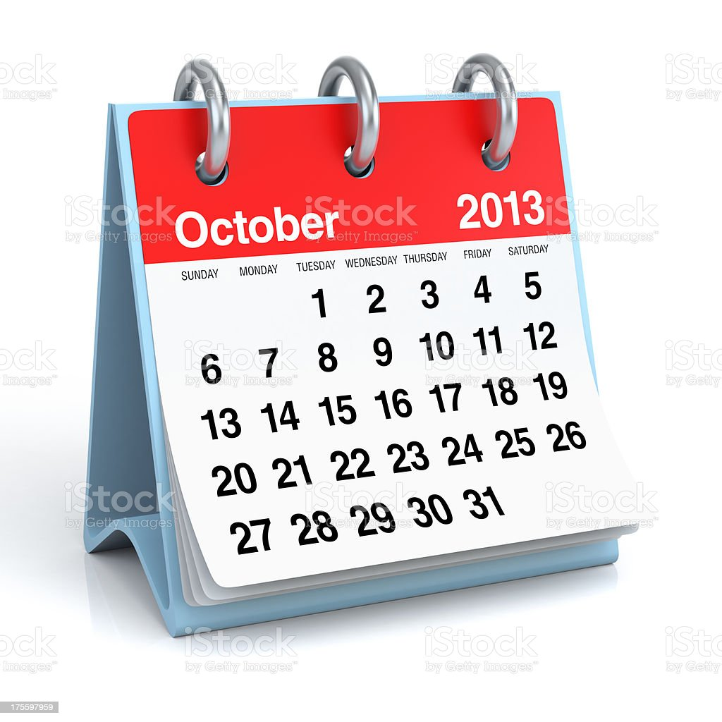 October 2013 - Calendar royalty-free stock photo