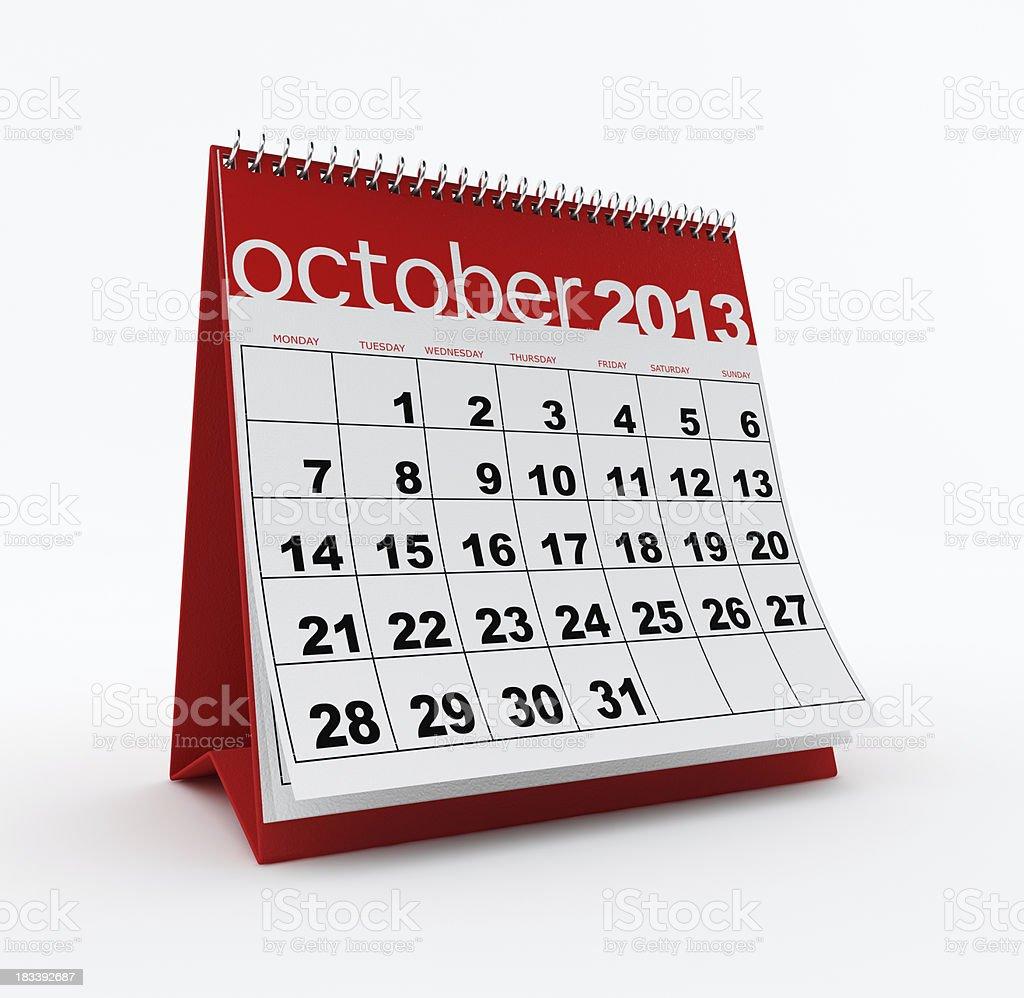 October 2013 calendar royalty-free stock photo