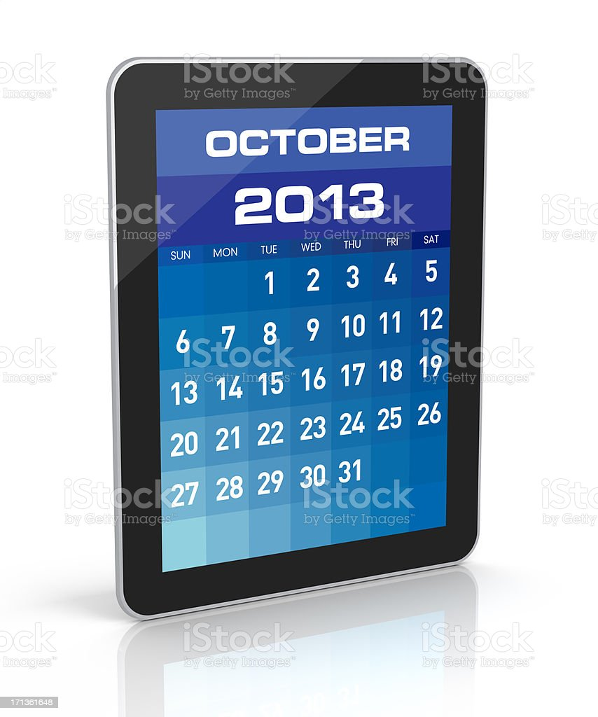 October 2013 - Tablet Calendar royalty-free stock photo