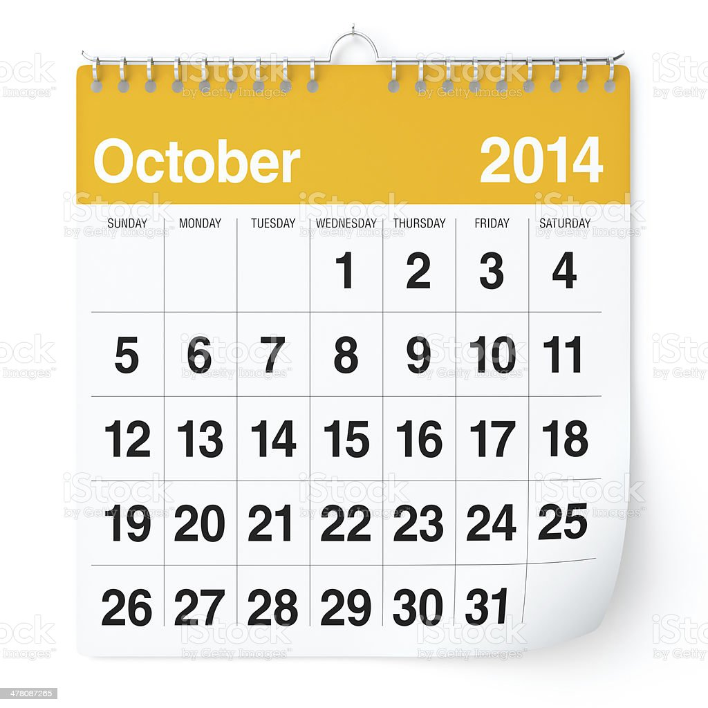 October 2014 - Calendar royalty-free stock photo