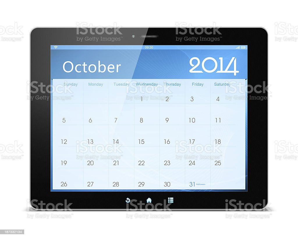 October 2014 Calender on digital tablet royalty-free stock photo