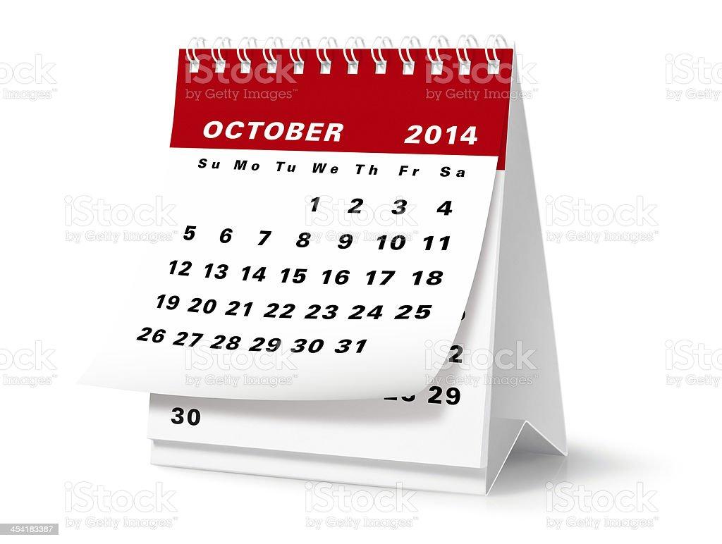 October - 2014 Desktop Calendar (Clipping Path) stock photo