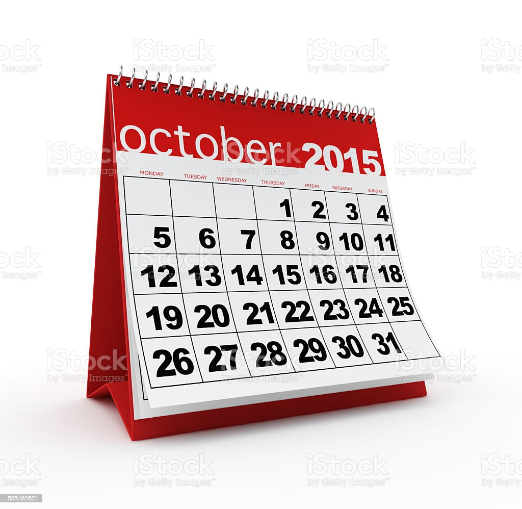 October 2015 calendar stock photo