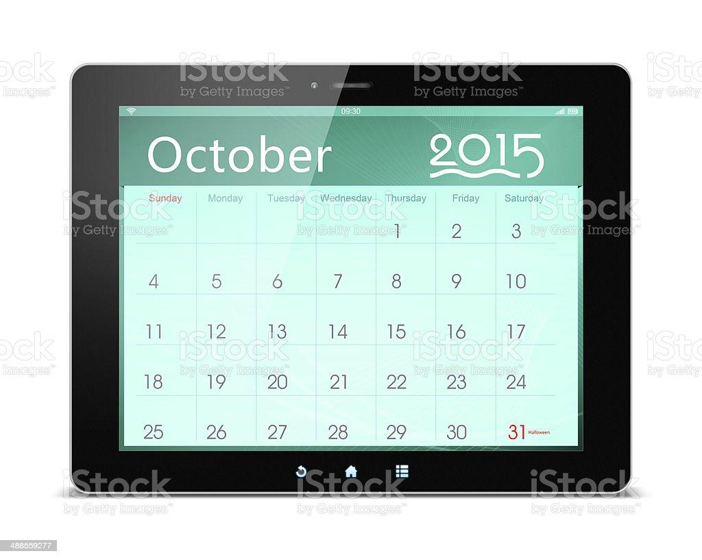 October 2015 Calender on digital tablet royalty-free stock photo