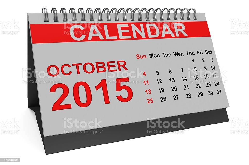 October 2015, desk calendar stock photo