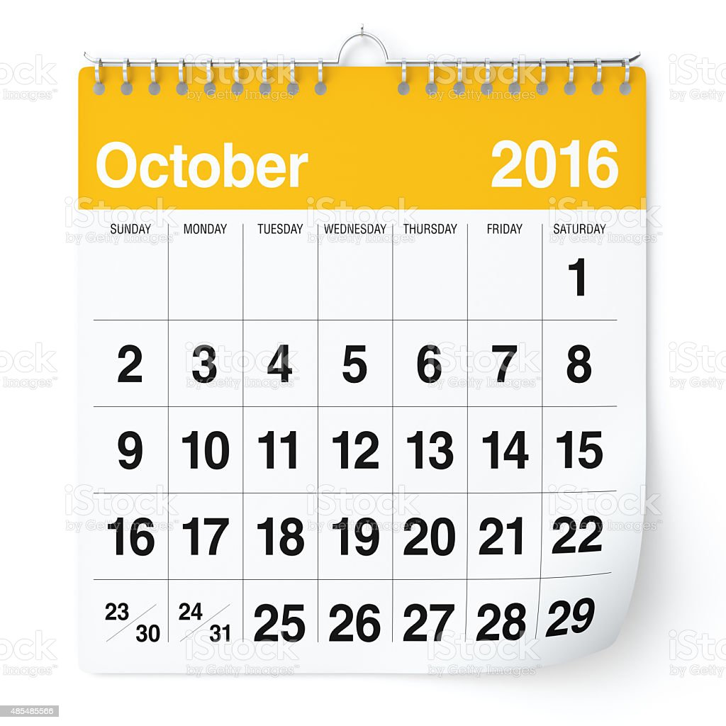 October 2016 - Calendar. stock photo